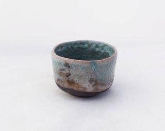 Yunomi. Ceramic cup. Raku. Turquoise. Contemporary ceramics.