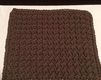 Crochet dish cloth - chocolate  brown