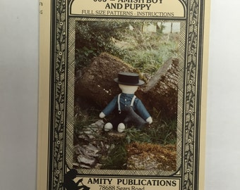 Amity Publications Vintage Doll Pattern 005 Amish Boy and Puppy