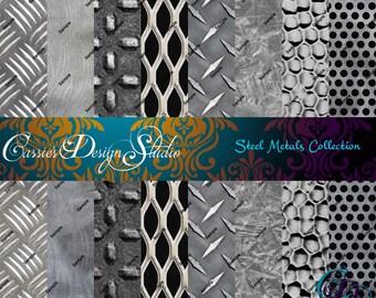 Steel Metals Digital Paper Collection