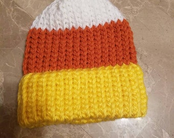 Child's size knitted candy corn hat