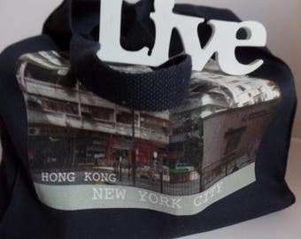 All People Will Travel Photography Hong Kong Tote Bag - 011 - NAVY