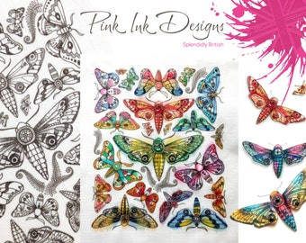 Moths embroidery. Kit