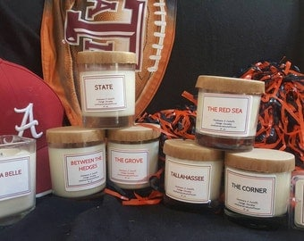Hand poured, Triple Scented Luxury Soy Candles - college themed