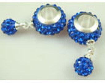 Teal Czech Crystal European Dangle Beads   G63