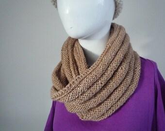 Beige Infinity Scarf, Wool and Alpaca