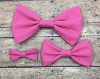 Hot Pink Fabric Bow (3 sizes) on Metal Clip, Elastic Headband, or Hair Tie; Pink Fabric Hair Bow, Hot Pink Hair Bow, Large Pink Bow