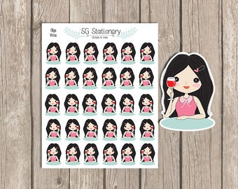 WINE Planner Stickers, Planner Stickers, Planner, Functional Stickers, traking stickers, small, night out, drinking stickers, pixie girl