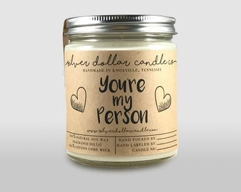 You're My Person Scented Candle | Birthday, Gift for her, Girlfriend gift, Greys Anatomy, soy candles, anniversary, for her, wife gift