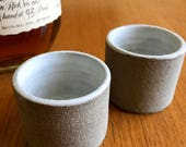 Whiskey Shot, Small Sipping Glass, Ceramic Shot Glass, Stoneware Shot Glass, Set of 2 in White and Raw Stoneware, made to order