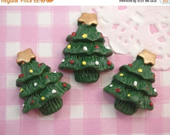 10% OFF SALE 6 x Gold Star Christmas Tree Flatback Cabochons Embellish Kawaii Crafts Decoden
