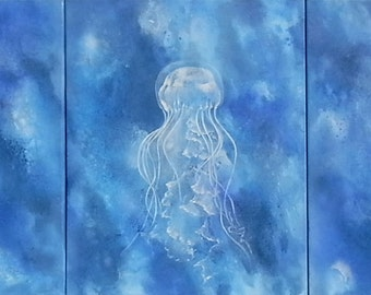 Painting painted canvas image oil painting underwater water mural Sea jellyfish