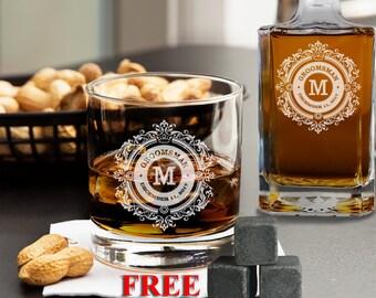 Personalized Whiskey Glass, Groomsmen Gift, Custom Whiskey Glass, Engraved Whiskey Glass, Whiskey Stones, Wedding Gift, Whiskey Rocks