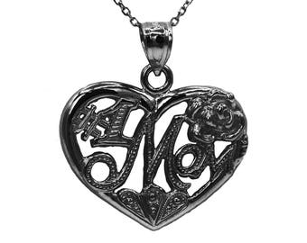925 Black Sterling Silver Heart #1 Mom Necklace