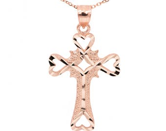 14k Rose Gold Cross Necklace Pendant