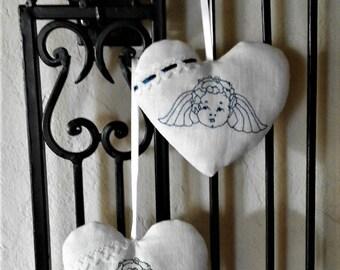 Heart Angel Putte linen cotton lace blue or black