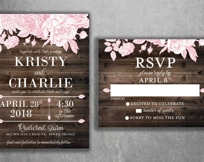 Rustic Floral Barn Wood Wedding Invitations Set Printed, Country Wedding Invitation, Southern Wedding Invitations, Floral, Flowers
