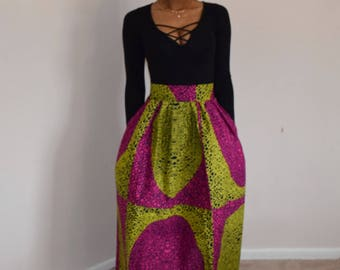 Pink and yellow High waist Maxi