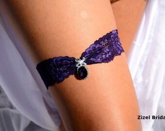Dark Purple Garter, Wedding  Garter, Wedding Garter, Purple Garter Set, Purple Garter, Bridal Garters, Wedding Garter Set, Rhinestone Garter