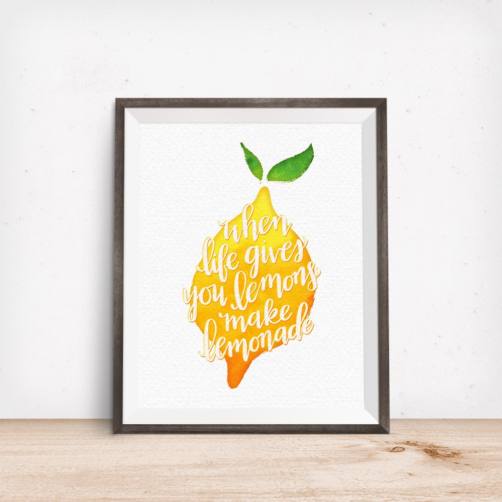 When Life Gives You Lemons Make Lemonade, Yellow Watercolor Lemon Printable Art