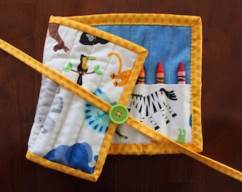 Animal Crayon Roll, Zoo Crayon Holder, Blue Crayon Roll Up, Crayon Tote, Animal Crayon Tote, Brown, White, Blue, Animals, Gender Neutral