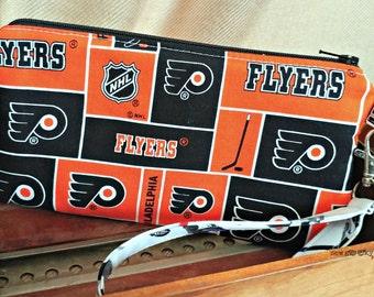 Philadelphia Flyers Wristlet -  Wallet - Broad Street Bullies Zippered Pouch - Clutch - OOAK - Custom Made