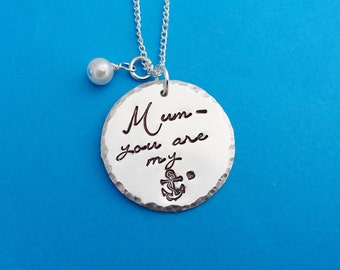 Mum you are my anchor, you are my anchor, gift for mum, mother's day gift, mother's day necklace, anchor necklace, anchor jewelry, anchor