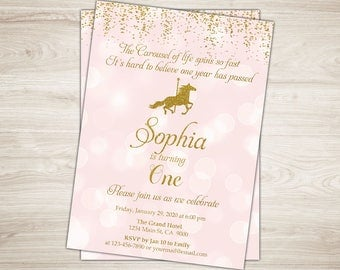 Carousel Birthday Invitation. Pink and Gold Carousel Invitation. Carousel 1st First Birthday Party Invite Printable Carousel Party Invite
