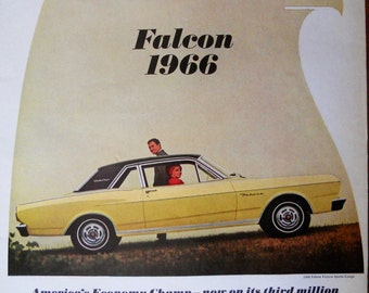 1966 Ford Falcon ad.  1966 Ford Falcon Futura Sports Coupe ad.  Falcon 2 door sports coupe.  Life Magazine.  October 1, 1965.