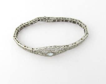 Vintage 14 Karat White Gold Aquamarine and Diamond Bracelet #1176