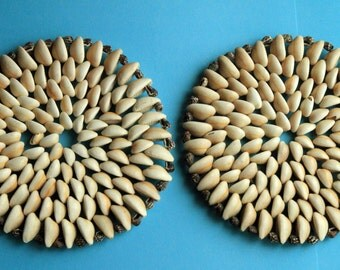 2 Doilies made from seashells
