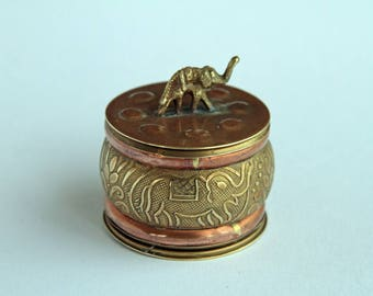 Copper and Brass Trinket Box - with Elephant Charm on Lid