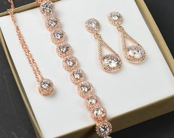 Rose Gold Earrings, Rose Gold Bracelet, Bridal Bracelet and Earrings Set, Rose Gold jewelry set,Personalized Bridesmaids Gift