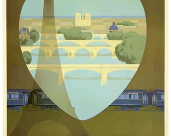 Vintage Orient Express Paris Railway Poster Print