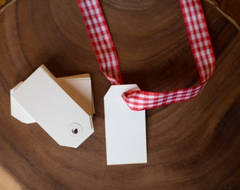 White Hang Tags #2 - 3.25X1 5/8 inches - gift tags - white, reinforced hole