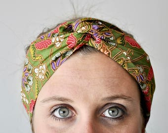 Headband P' little trickster Batik khaki green woman spring