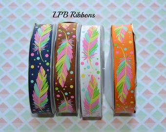 7/8 Ribbon, Feathers, Feather Ribbon,  Ribbon, US Designer Ribbon, Ribbon by the Yard, Grosgrain Ribbon