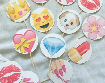 Girls Rule! 24-Pack Assorted Emoji Cupcake Toppers