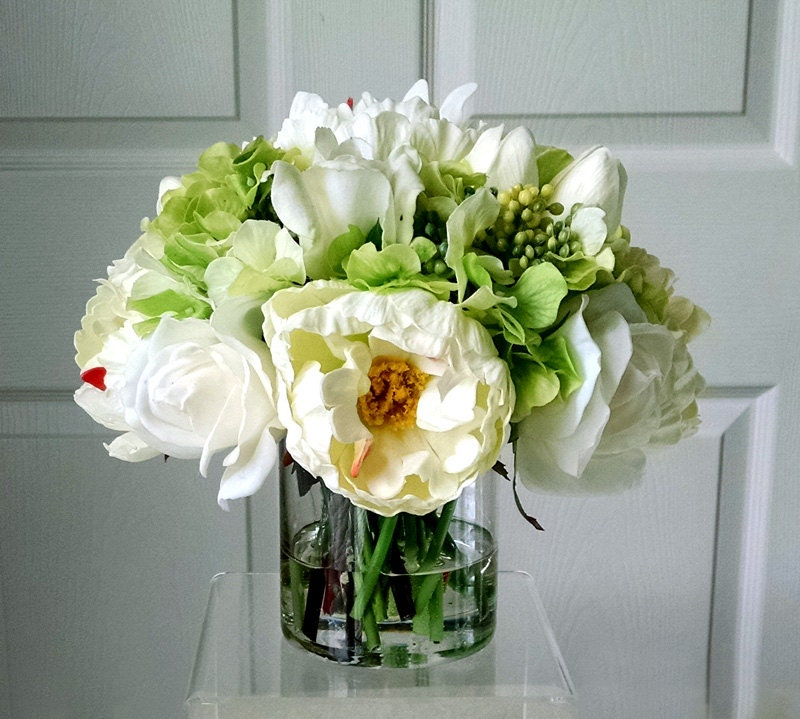 All Real Touch Flowers Arrangement-Floral Arrangement-Silk Flowers in Home Decor-Fake flowers-Real Touch Peonies-Real touch Roses