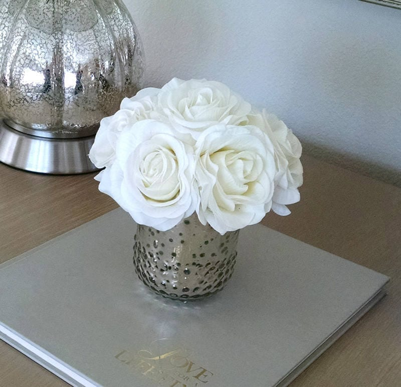 Real Touch flowers for Home decorations-Birthday Gift-Real Touch Roses-Silk Flowers in Home Decor-Fake flowers-White Roses