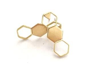 Brass geometric hexagon and triangle drop earrings