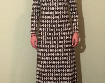 Retro Mod Dress/Diamond Pattern/60s Dress/Woven dress/Vintage maxi dress
