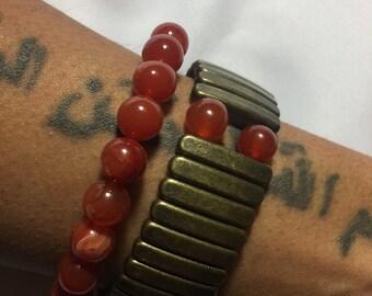 Fire Agate Natural Stone Bracelet Set