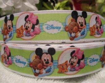 "3 Yards 7/8"" Baby Minnie & Mickey Grosgrain Ribbon"