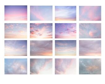 Pastel Sky Overlays, Photoshop Overlays, Cloud Photography, Sky Replacement, Sky Backdrop, Background, Photoshop Overlay, Pink Sky
