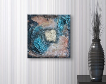 Gold Dust - Original Abstract Acrylic Structure Painting 30x30 cm