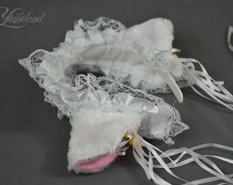 Cat ears | White cat ears on a headband with lace | Kitty ears | lace cat ears | lace ears | cosplay cat ears | lolita ears | anime ears