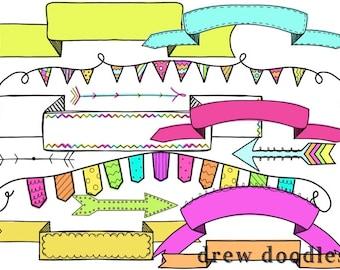 Bright Banners Digital Clip Art Set- Instant Download