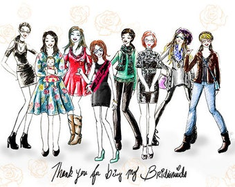 Custom Bridesmaid gifts, Bff Fashion Sketch, custom wedding gifts, Bridesmaid ask cards, group custom portrait, group fashion illustration