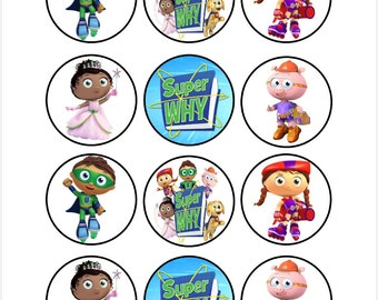 Edible Super Why Cupcake Cookie Toppers